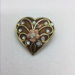 Vintage Enamel Heart Shape Rhinestone Brooch/Pin
